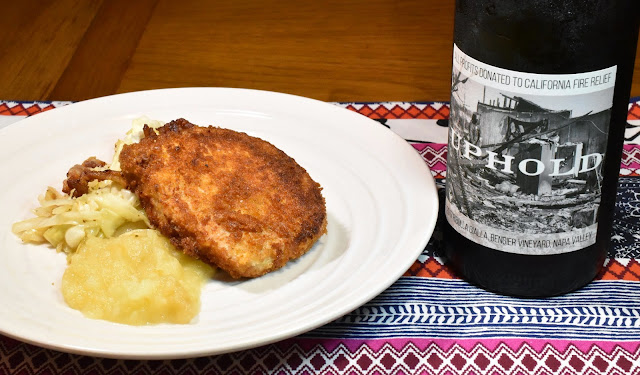 Uphold Ribolla Gialla with Crispy Pork Chops & Braised Cabbage. Photo by Greg Hudson.
