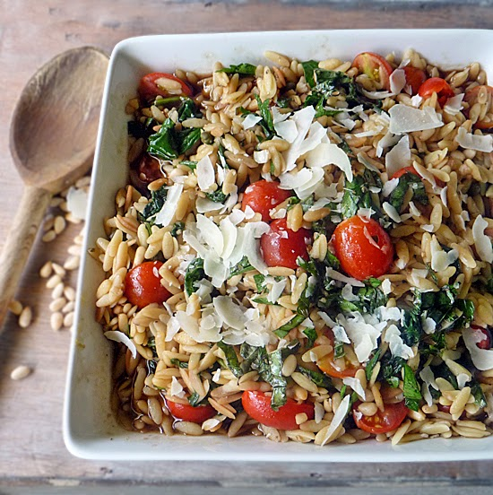 Orzo with Spinach and Tomatoes | by Life Tastes Good