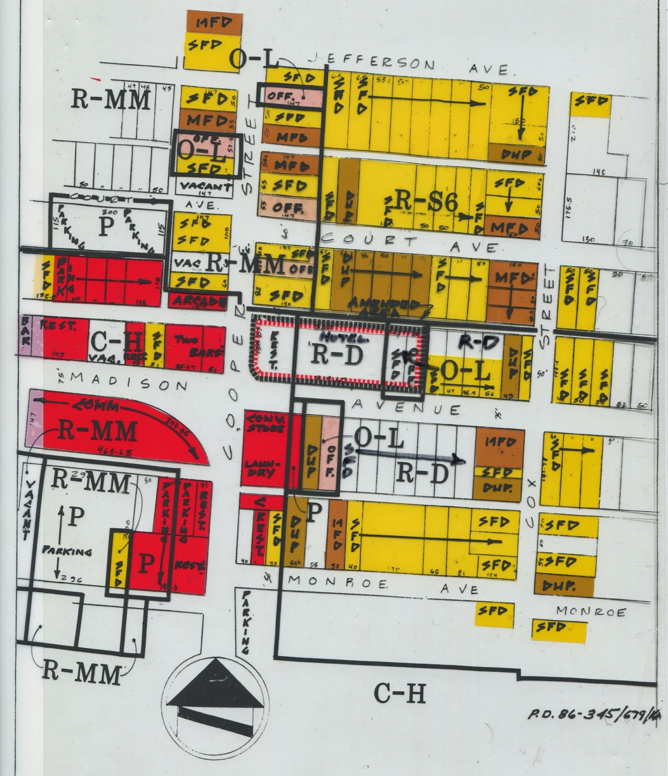 zoning map of the area in 1986 shows the wide variety of zoning and land uses in the area much of which remains today