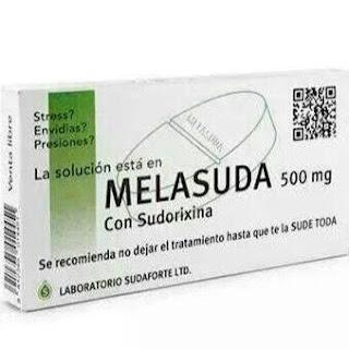 Melasuda , 500 mg, sudorixina, se recomienda no dejar el tratamiento hasta que te la sude toda, laboratorios sudaforte ltd.