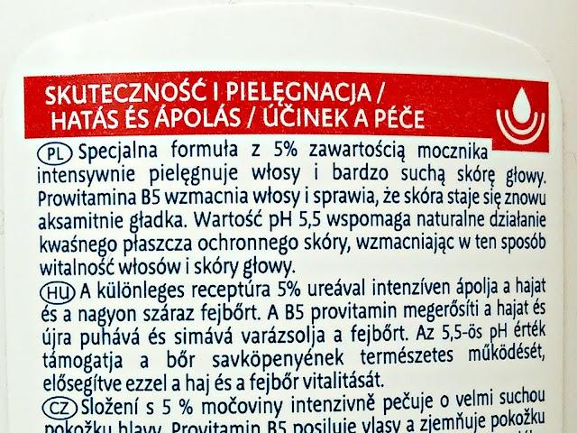 Isana Med, Urea - Szampon do włosów z mocznikiem 5%, etykieta
