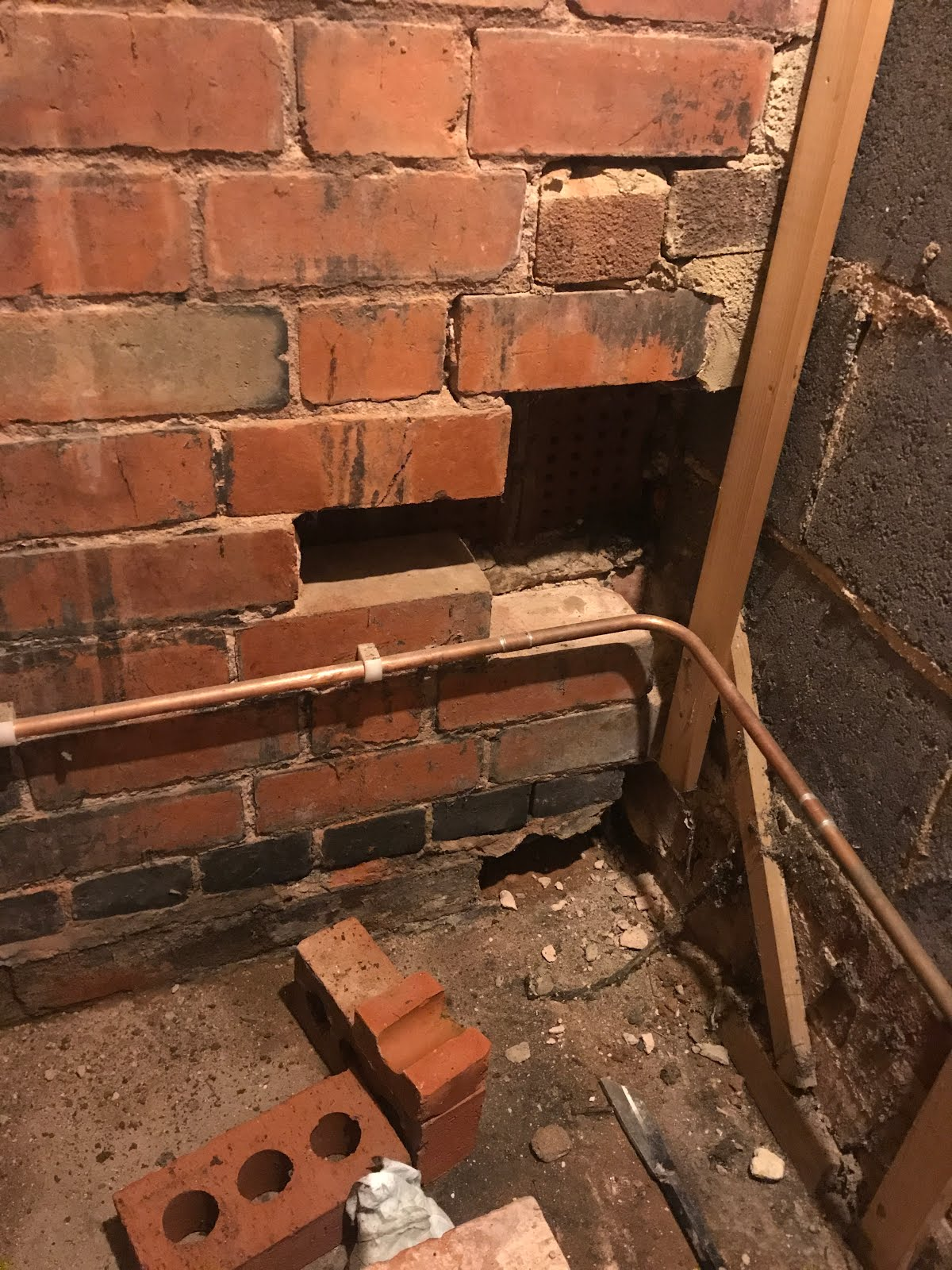 missing brickwork in wall