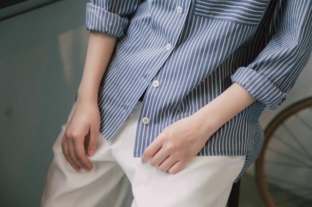 迷路斑馬大口袋條紋襯衫/外套