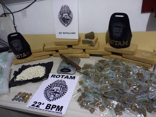 ROTAM APREENDE QUASE 10KG DE ENTORPECENTES EM COLOMBO