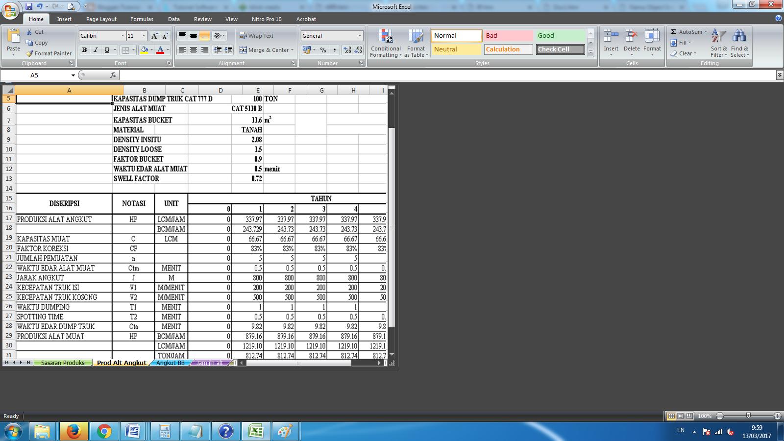 Menghitung Produksi Alat
