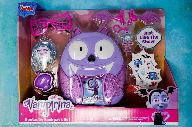 A photo of an unopened Vamprina Bootastic Backpack Set