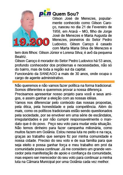 Eleições 2012, Candidato Gilson Caroço 19200, Vereador do PTN