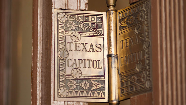 Door hinges at the Texas Capitol in Austin