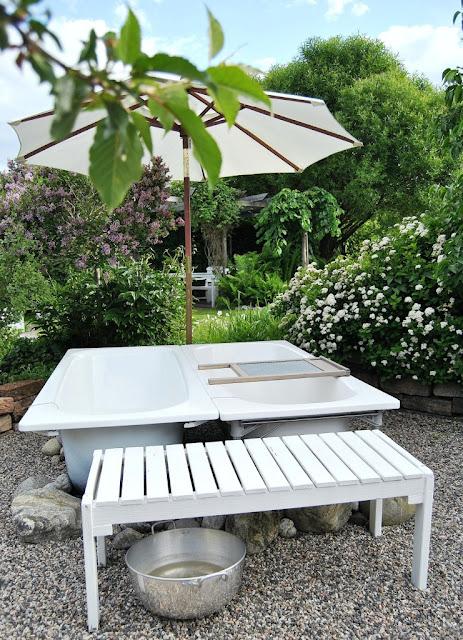 Badkar badkar ute : HANNAS: Badkar i trädgården ~ Utespa