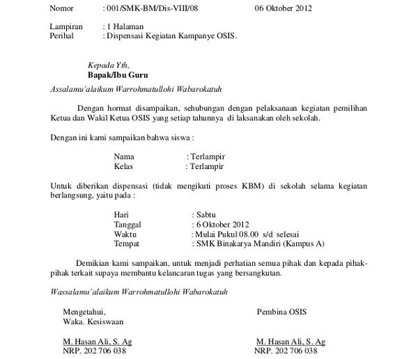 Contoh Format Surat Dispensasi Sekolah Yang Resmi Aneka