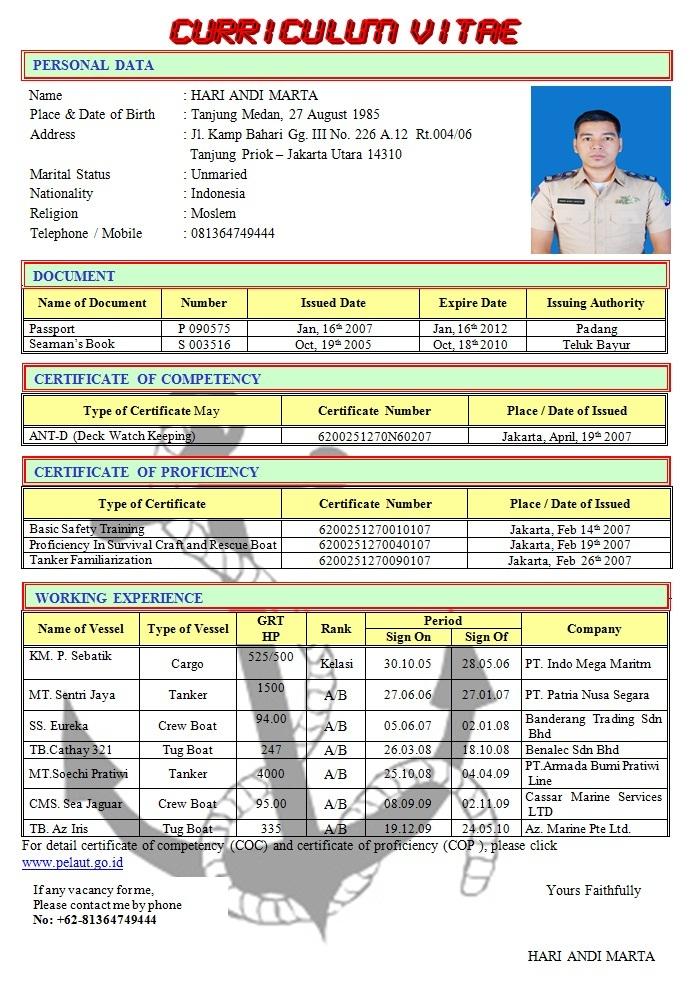 contoh curriculum vitae pelaut bahasa inggris
