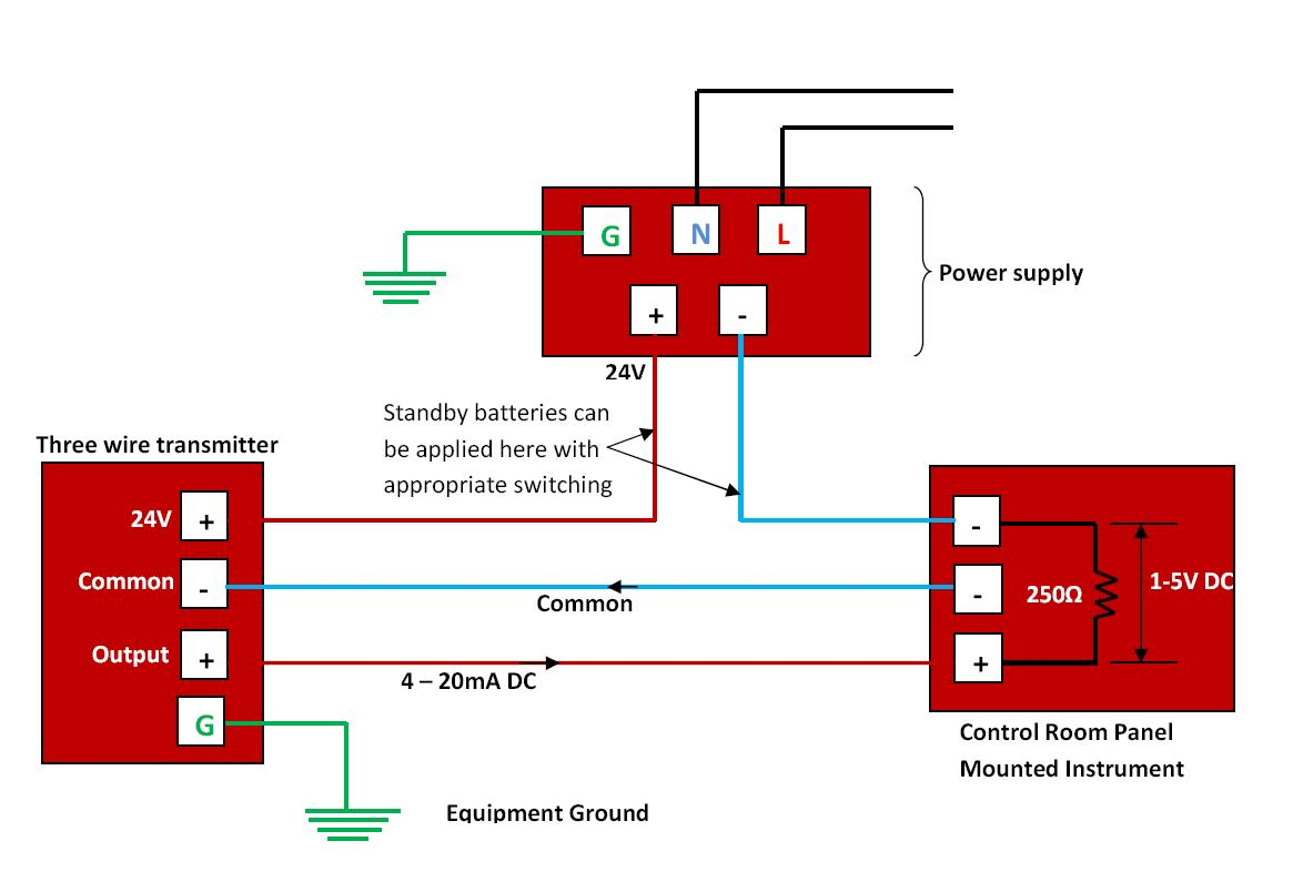 the power supply and produce the desired signal current at the transmitter output the schematic diagram for a three wire transmitter is shown below  [ 1174 x 804 Pixel ]