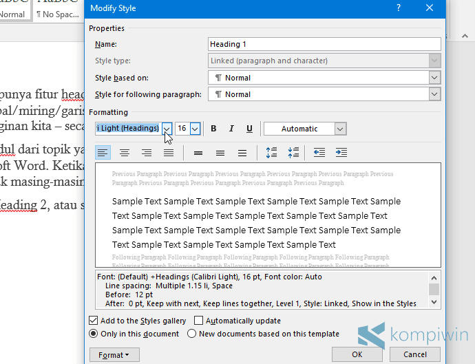 ubah warna teks standar