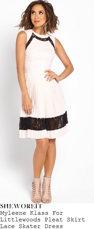 myleene-klass-nude-ballet-pink-and-black-lace-detail-pleat-skirt-skater-dress