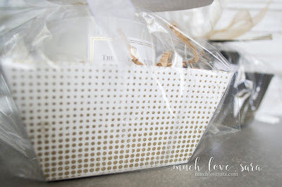 The classic wrapped gift basket gets glammed up with the addition of some gold embossing, and a fun golden gift tag.  Created with Fun Stampers Journey dies.
