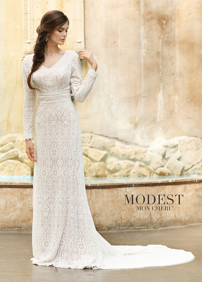 8380f3dc8264 Modest by Mon Cheri Spring 2018 Soft allover embroidered lace sheathgown  with long sleeves