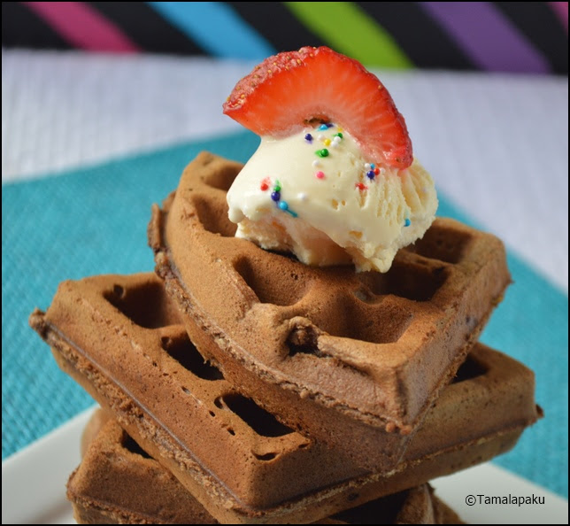 Eggless Chocolate Chip Brownie Waffles