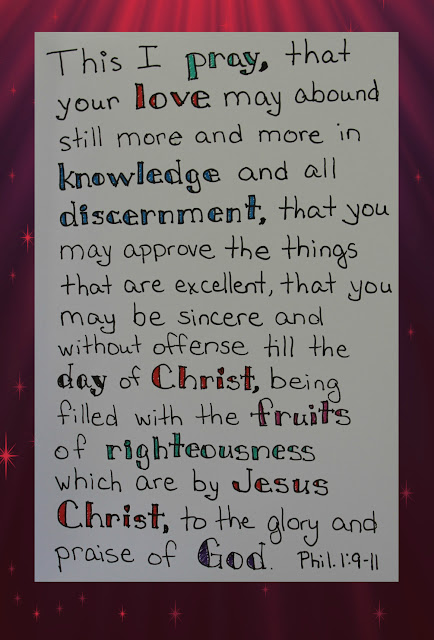 Scripture Writing, Philippians 1:9-11