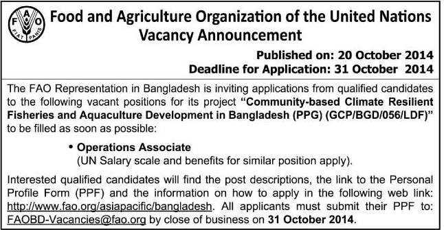 Bdjobs : Career at Food and Agriculture Organization of the United Nations
