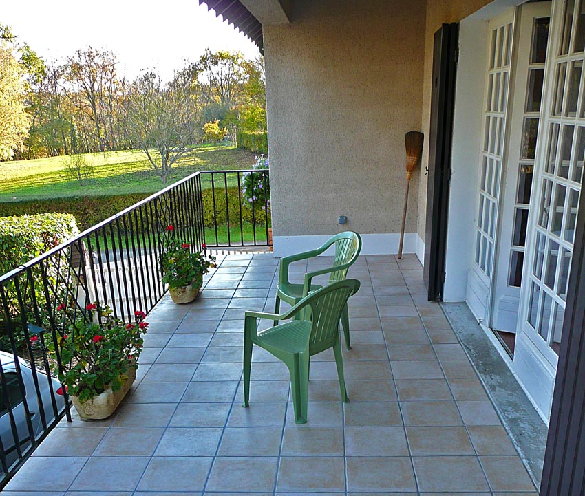 A terrace is a large, spacious balcony, except that a balcony protrudes  beyond the walls of the building, whereas a terrace doesn't stick out so  much as it ...