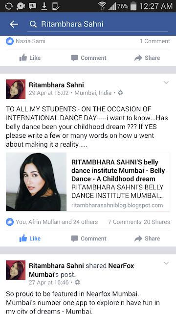 Ritambhara Sahni's belly dance institute mumbai