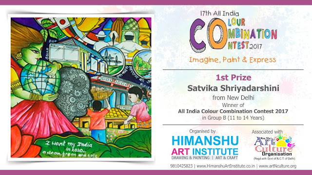1st Prize Winner  Satvika Shriyadarshini from New Delhi in All India National Level Painting Competition for Kids