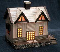 kerajinan dari stik es krim lampu bentuk rumah