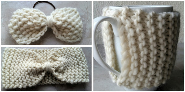 we are knitter , tricot , noeud , bandeau , cache-mug , tuto