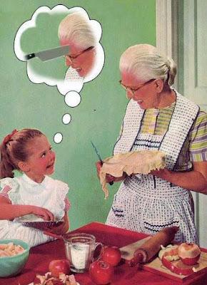 Frauen in der Küche lustige Gedankenblase - Mädchen mag Oma nicht