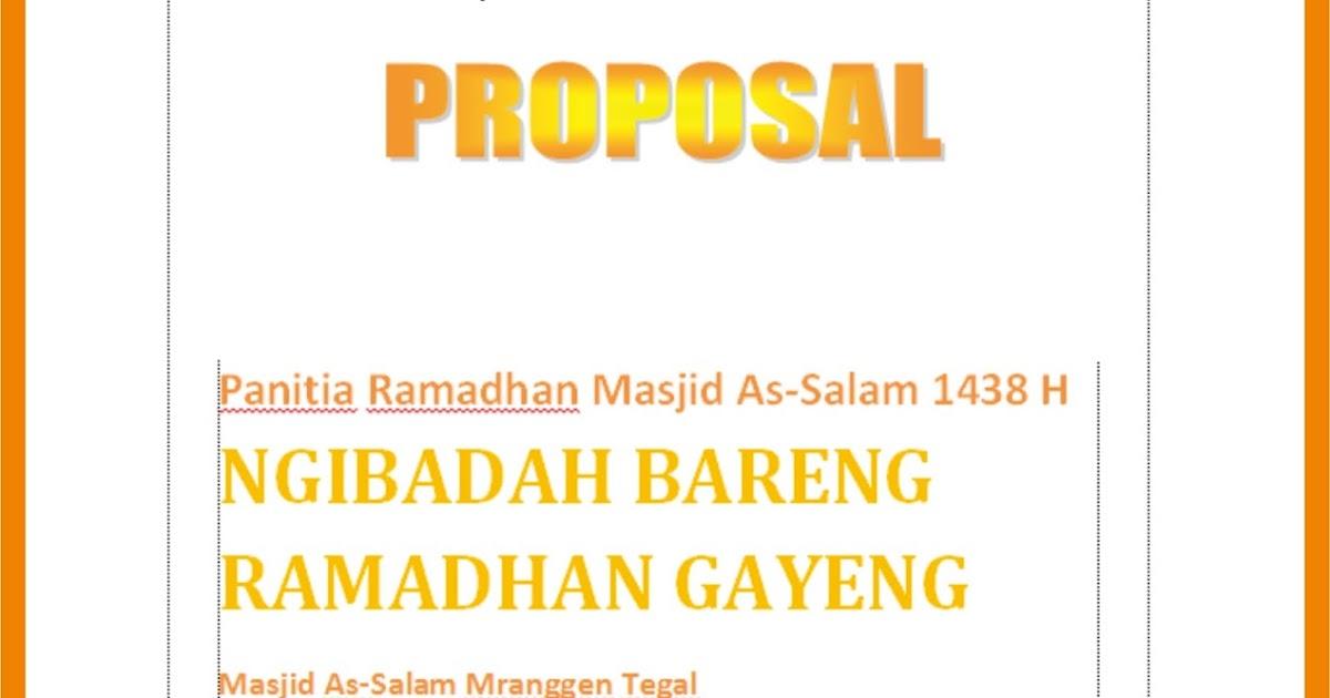 Depot Iqro As Salam Contoh Proposal Ramadhan