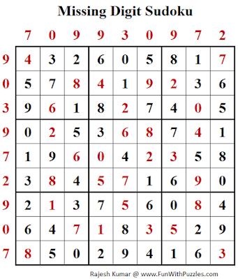 Missing Digit Sudoku (Daily Sudoku League #146) Solution