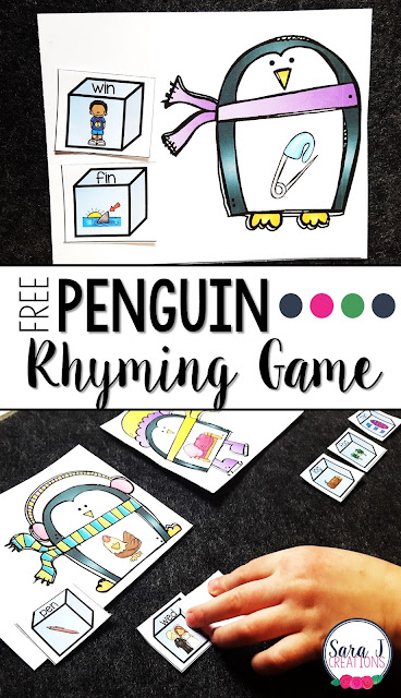 Free penguin rhyming game to practice CVC games. Perfect for #preschool, #kindergarten or #firstgrade #sarajcreations