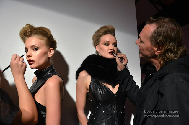 Final touches of  the Make-up artist Freddy himself, for the Kathy Heyndels collection catwalk.