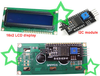 I2C module and 16x2 LCD display