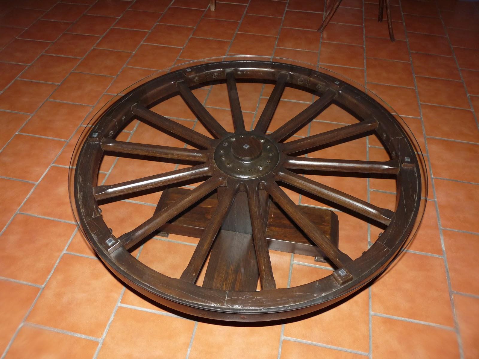 Madera y tiempo mesa rueda de carro - Ruedas para mesa ...