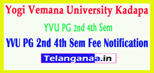 YVU Yogi Vemana University PG 2nd 4th Sem Fee Notification 2018