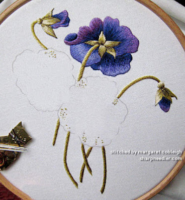 Preparing to embroider (thread paint) the lower two pansy flowers. (Pansies designed by Trish Burr)