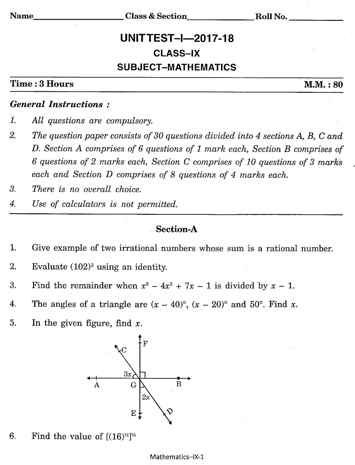 Maths4all class ix mathematics bvn question paper with solution class ix mathematics bvn question paper with solution unit test 1 2017 2018 malvernweather Gallery