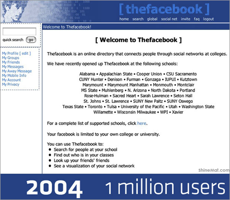 Facebook design layout history