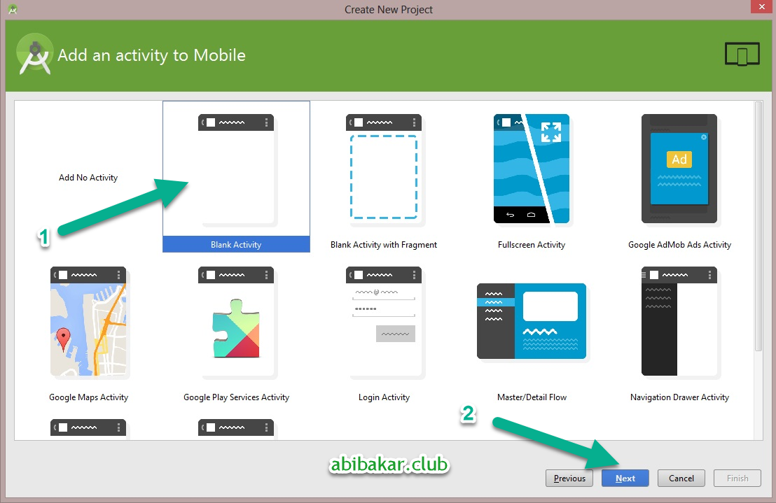 Pilih Blank Activity For Mobile Di Android Studio