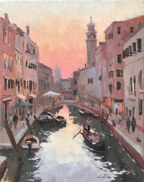 #418 'Sunset Campo Barnaba, Venice' 40x50cm