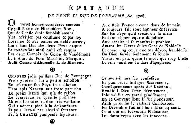 """Inscription sur marbre noir présente dans l'enfeu (D'après l'ouvrage """"Essais sur la ville de Nancy"""" par J. J. Lyonnois)"""