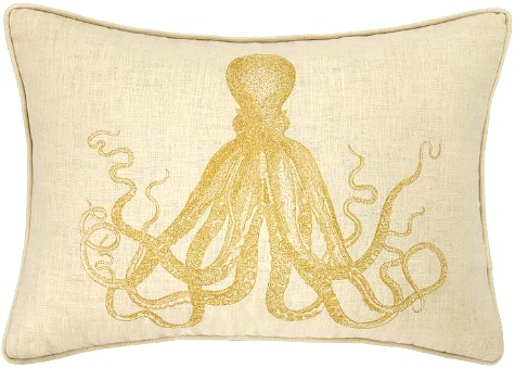 Gold Emboidered Octopus Pillow