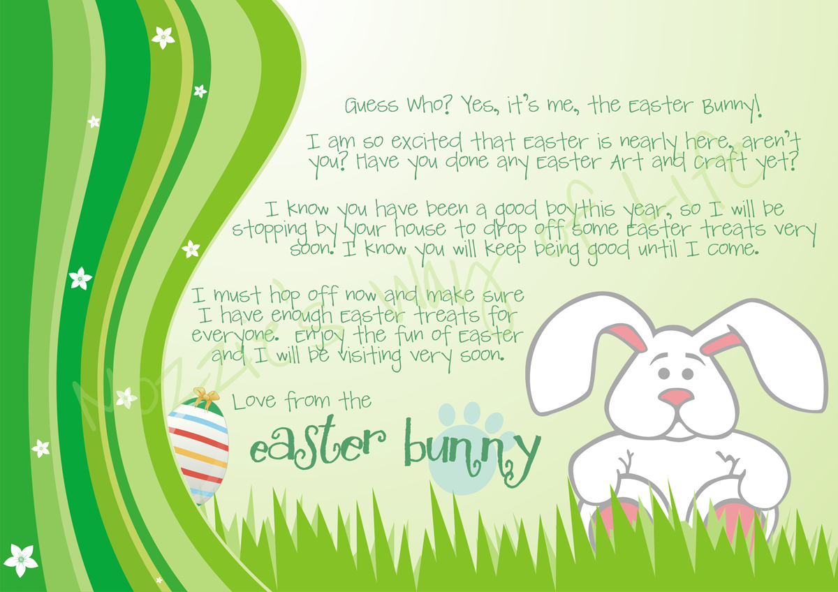 Today 39 s top 20 wednesday 39 s features for Letter to easter bunny template