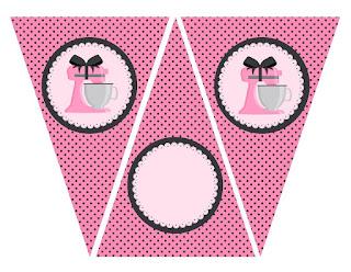 Banderines para Imprimir Gratis de Horneando en Rosa.
