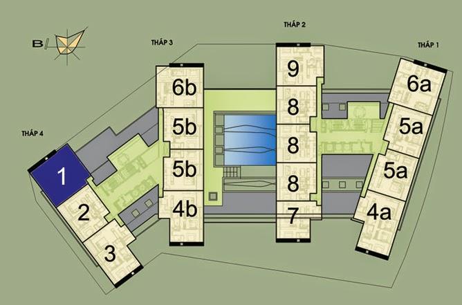 Vị trí căn hộ CH1 - 182m2 trên mặt bằng căn hộ Dolphin Plaza