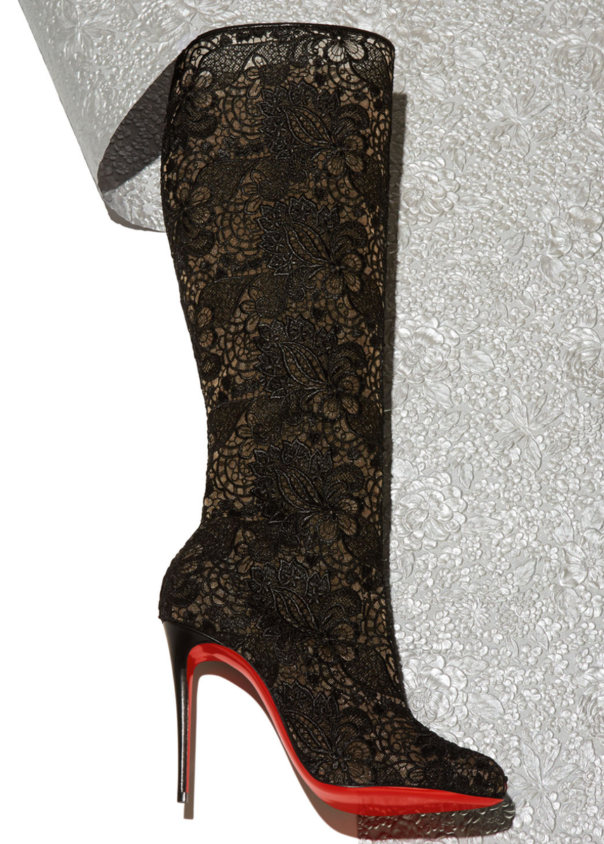 Christian Louboutin Tennissima Net Lace Red Sole Boot, Black
