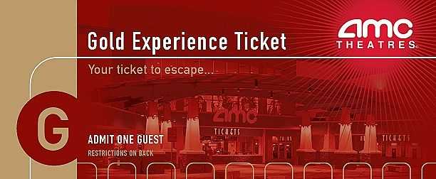 AMC Theaters Sell Special Experience Tickets With No Expiry Dates The Gold Ticket Is Valid For Screenings Of Newly Released Films