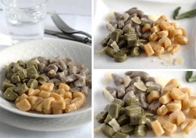 Gnocchi di patate con zucca - te verde e radicchio