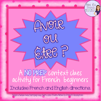 If your students mix up the verbs avoir and être, this context clues activity is perfect for you!  It comes with notes pages in French or English plus an easy-to-use cloze activity!